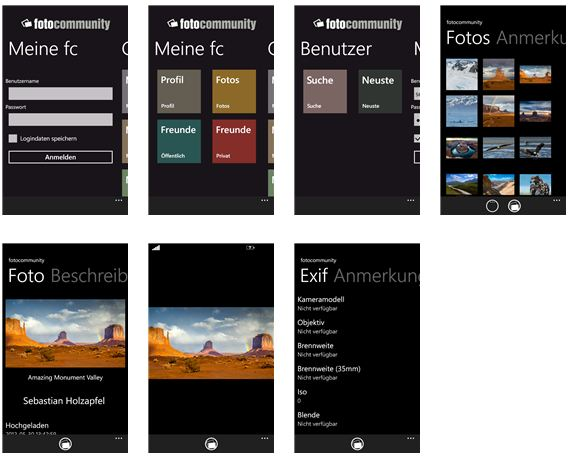 Windows Phone App für die fotocommunity